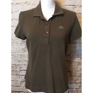 Lacoste Brown Polo Rugby Women's Size 44 Collar